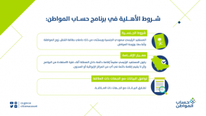 الشروط الأهلية في برنامج حساب المواطن